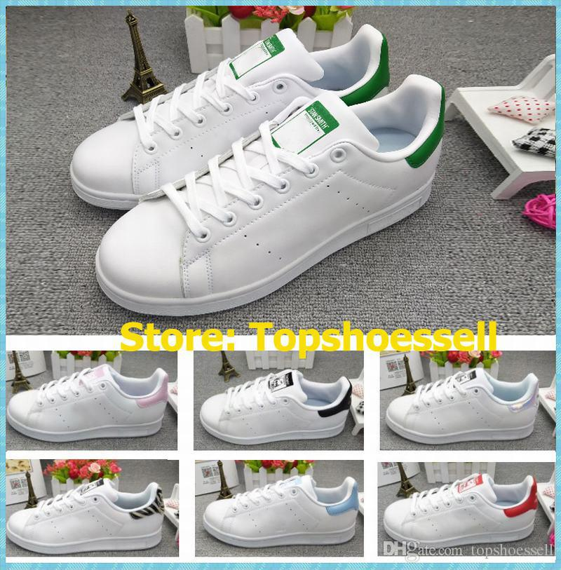2018 discount Stan Smith Classic Green Tail Casual cuir hommes blanc femmes sport chaussures de course rose baskets noir taille EUR36-44