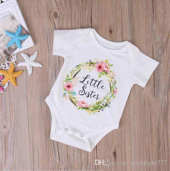 Fashion Baby Girls Sisters Matching Outfits Big Sisters Floral Letters Printed T shirt+Little Sisters Printed Rompers Family Suits