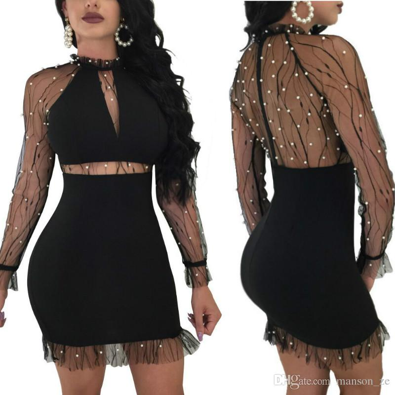 Pearl Black Mesh Dress Women Ruffle Round Neck Long Sleeve Sexy Party Dress  Sexy Hollow Out Party Bodycon Dress Celebrity Night Club Dresses Pink Dress  ... c2eab1081686