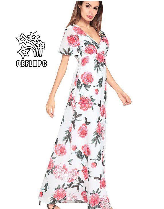 9e7e6feeca4 Women's clothes Dress Summer Sexy beach chiffon dress Thin Polyester  material Casual Dresses chambray Longuette V-Neck 2A1381