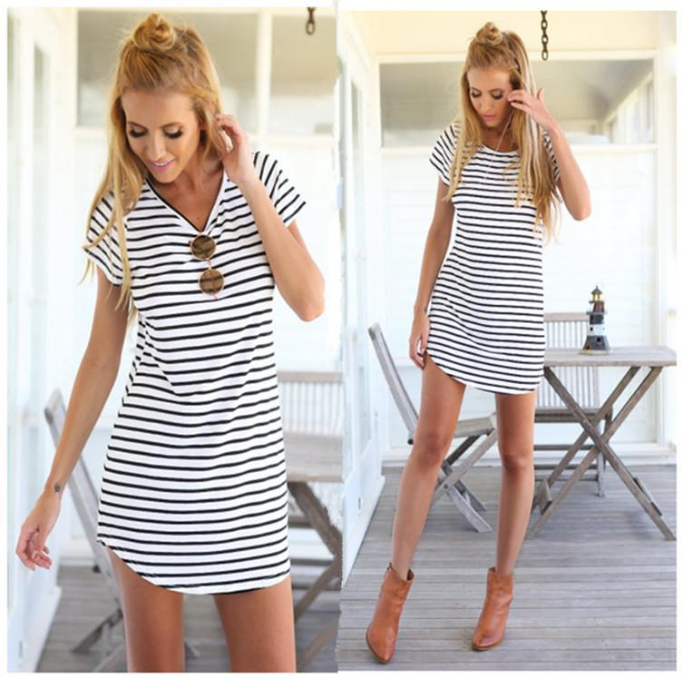 5ef1c28fb4e2 2018 New Arrivel Simple Summer Casual Dress Women Short Sleeve Round Neck  Striped Mini Dress Loose T Shirt Black Dress Cocktail Party White Floral  Summer ...