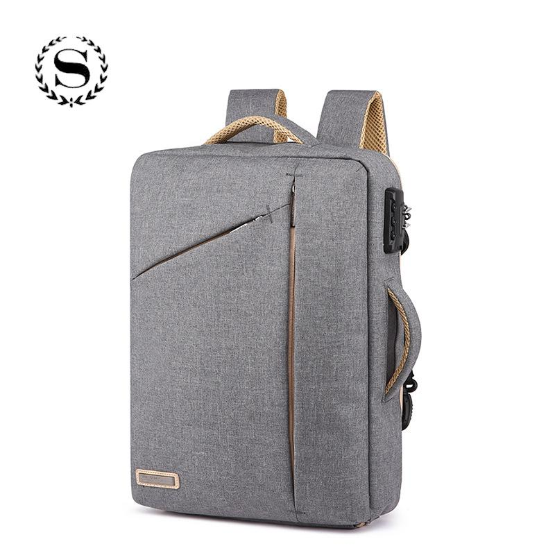 3dcb879e9213 Solid Business Laptop Bags Hide Shoulder Strap Backpack For Men Women Boys  Girls Student Male Children Canvas School Bag Backpacking Backpacks  Personalized ...
