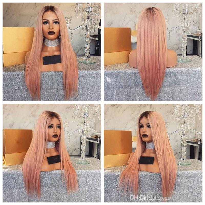 Middle Part Heat Resistant Color Dark Roots Ombre Pink Wig Synthetic Lace Front Natural Long Straight Wigs For Black Women Lace Wigs Synthetic Lace Wigs