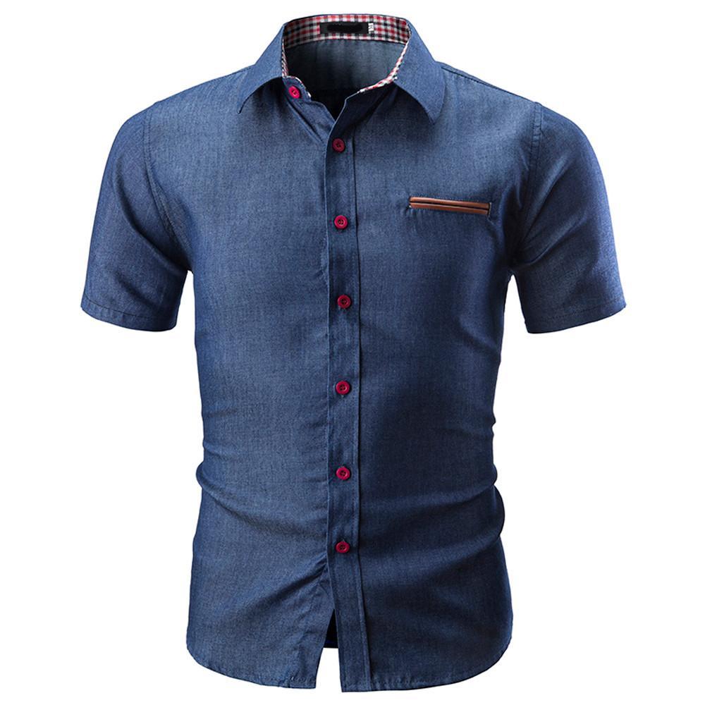 3b951ee145 Compre Camisa De Verano Para Hombres De Negocios Camisa De Manga Corta  Camisa De Mezclilla Con Esmoquin Camisa De Hombre Camisas De Gran Tamaño  Con 3XL A ...