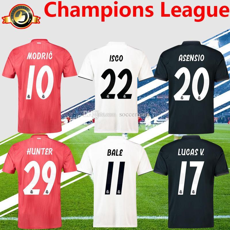 Liga De Campeones 2019 Jersey De Fútbol Real De Madrid En Casa Fuera  Tercero 18 19 MODRIC ASENSIO ISCO BALE CASEMIRO KROOS Uniforme De Fútbol  Por Soccertong ... ca135bc5b865f