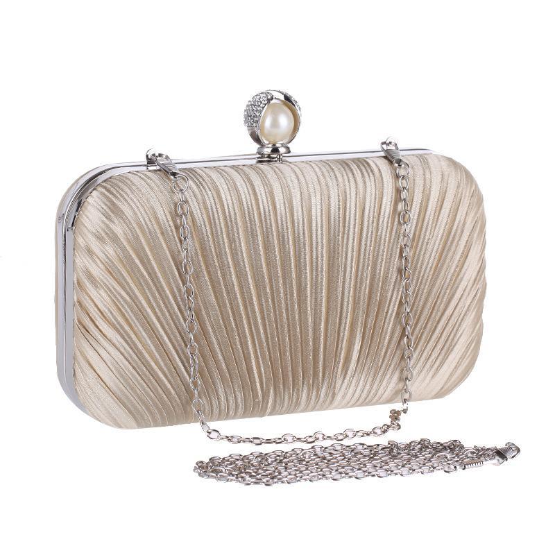 a4f17e15c3 2018 New Apricot Women's Bag Satin Shoulder Bag Bridal Wedding Evening  Clutch Handbag Party Purse Makeup XST213