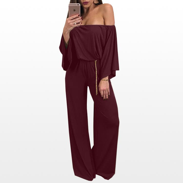 c097cf733afe 2019 Jumpsuit Women Off Shoulder Jumpsuits Loose Flare Sleeve Playsuit Wide  Leg Pants Long Trousers Zipper Romper From Roberr