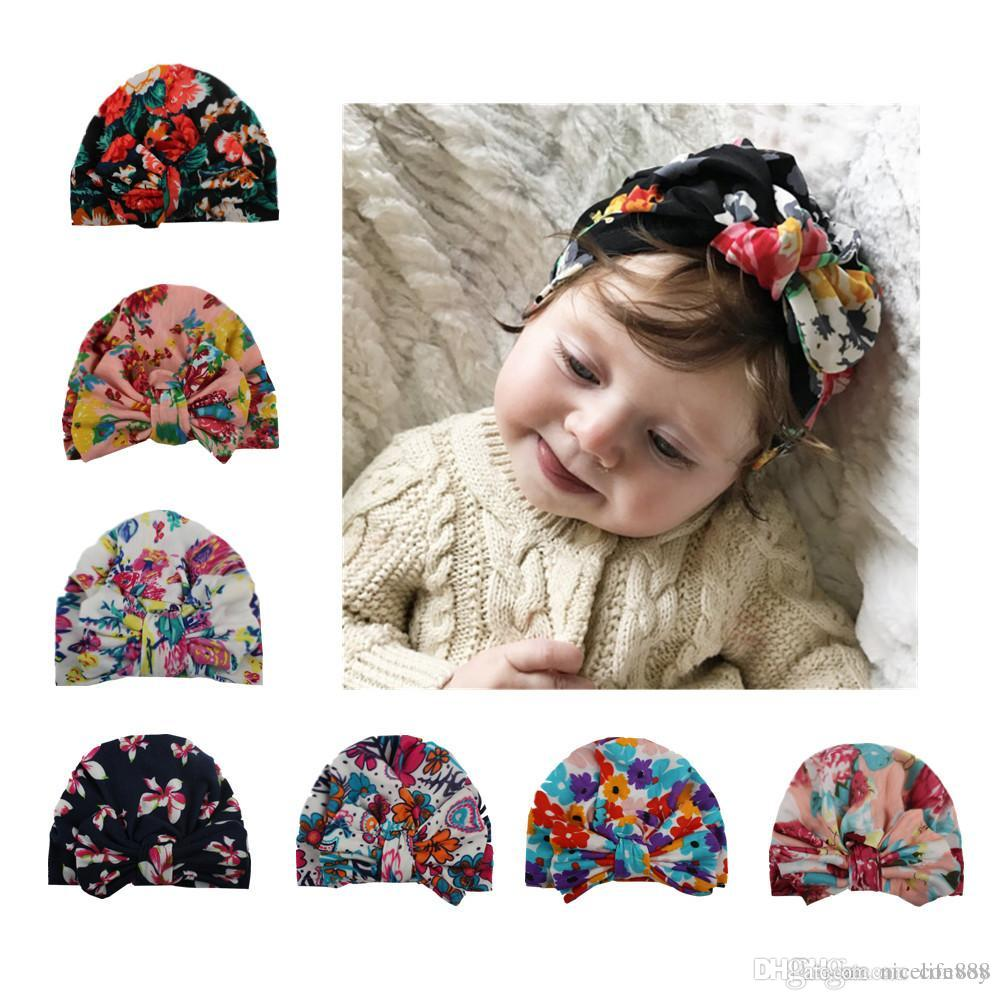 ea15a04c6da New Baby Hat Floral Print Caps Big Bow Cotton Turban Knot Hats Head ...