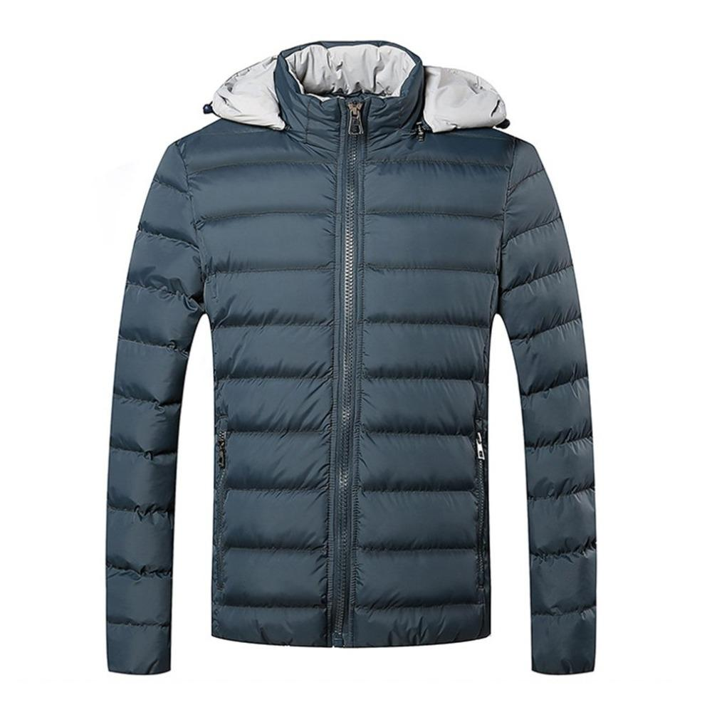 199647412ed Plus Size Men's Hooded parkas Thick Cotton Coat Solid Color Casual Cotton  Padded Down jacket For Autumn Winter Warm Outerwear