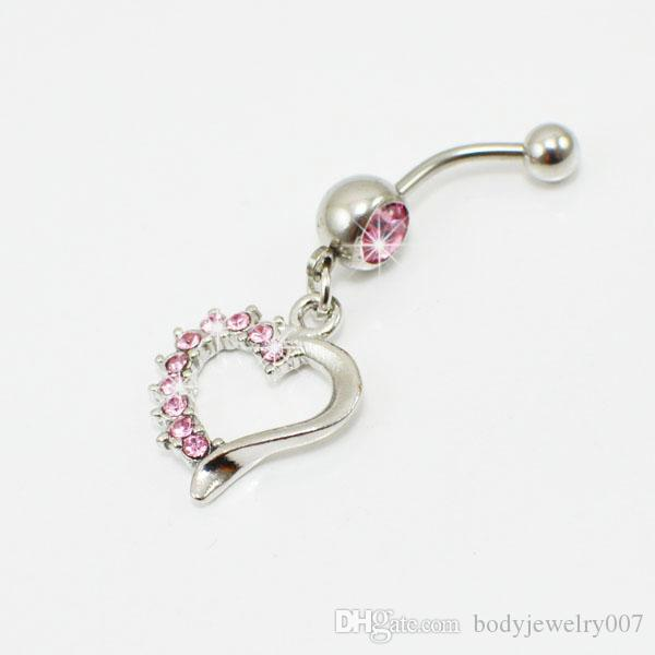 D0709 3 cores bom coração umbigo anel de venda a varejo anéis de umbigo piercing jóias Dangle acessórios moda charme