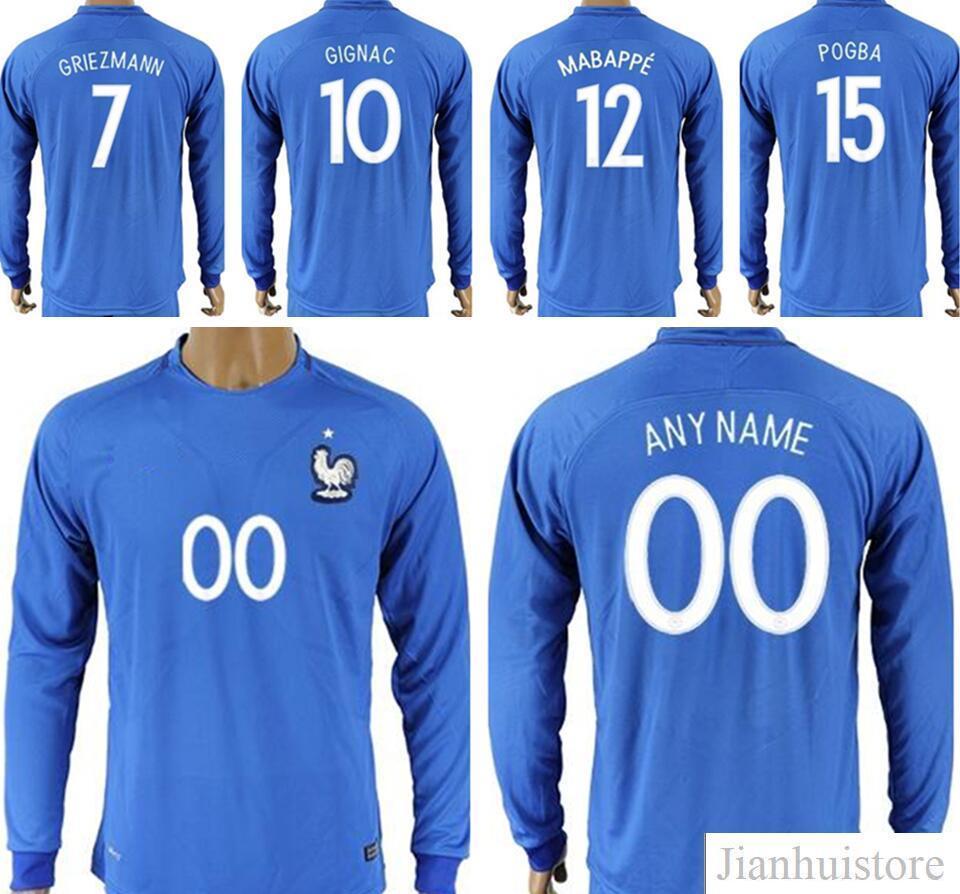 21014993db6 2019 Mens Long Sleeve France Football Shirt GRIEZMANN POGBA MARTIAL CABAYE  BENZEMA PAYET VARANE GIROUD KANTE MABAPPE Custom Blue Soccer Jerseys From  ...