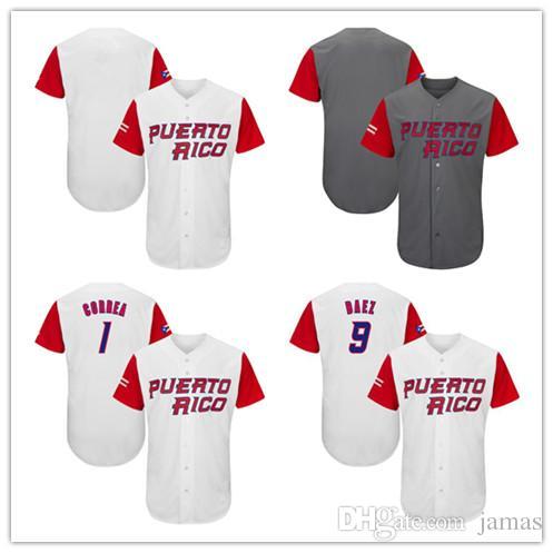 Men S Women S Youth Team PUERTO RICO Baseball Jersey  1 Carlos Correa  12  Francisco Lindor  9 Javier Baez  4 Molina Baseball Jersey UK 2019 From  Jamas 7955556798