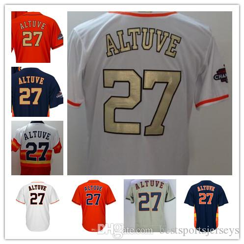 hot sale online fc73e 6d577 Houston Champions Mens womens 27 Jose Altuve women kids youth color white  blue grey orange with gold number baseball jerseys