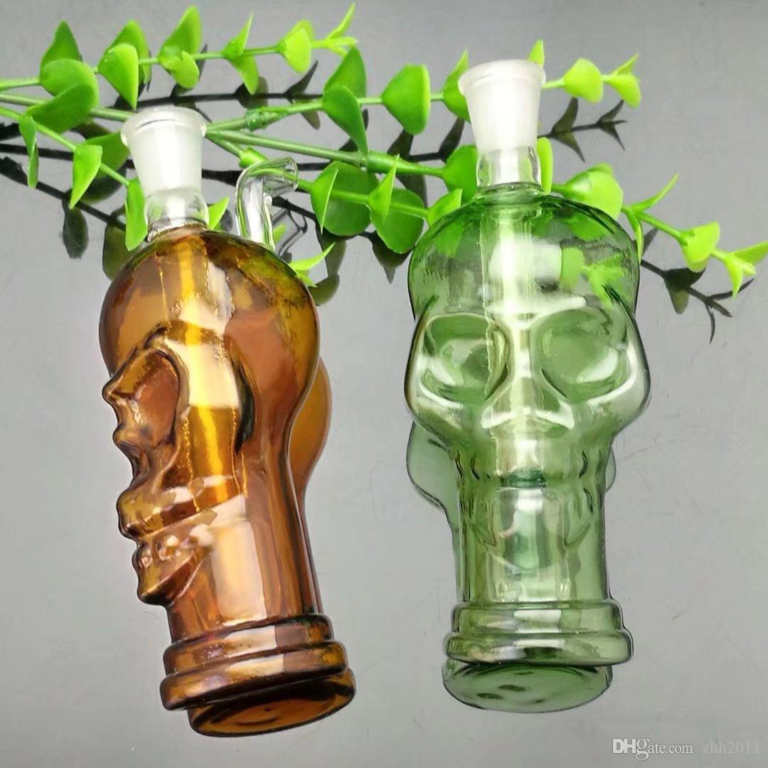 Brocca filtro in vetro doppio teschio con vetro colorato