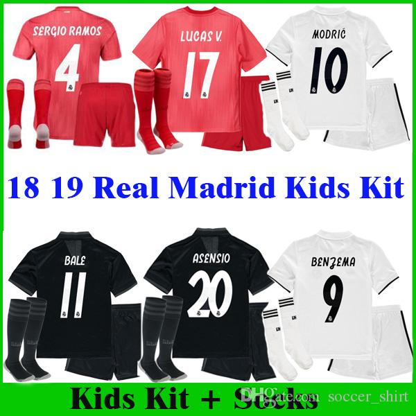 7a23c5098f4 2019 ASENSIO MODRIC Kids Kit+Socks Real Madrid Soccer Shirts 2018 2019 Home  Away Boy Jerseys ISCO BALE KROOS Children 3rd Red Youth Futbol Jersey From  ...