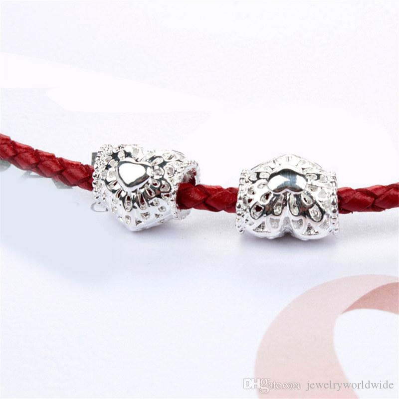 Shining Heart Alloy Charm Bead Fashion Women Jewelry Stunning Design European Style For Pandora Bracelet Necklace