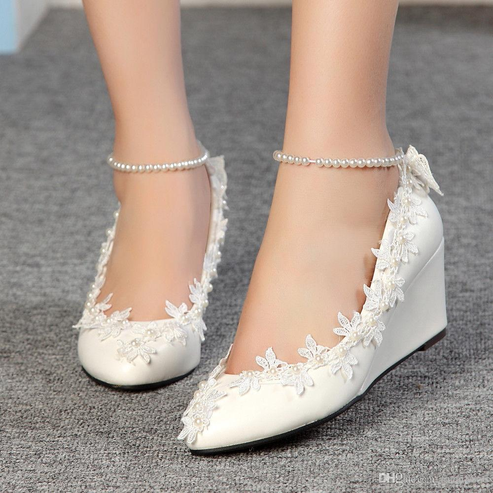 New white lace diamond handmade wedding shoes the bride's wedding dress wedges a custom-made princess shoe