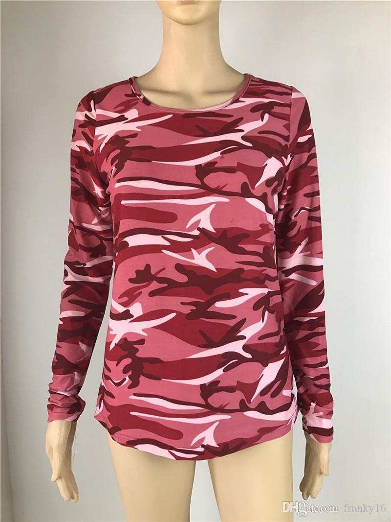 Nueva moda primavera otoño camuflaje camiseta mujer tops todo partido camiseta de algodón de manga larga camiseta mujer tops camo XL 2XL