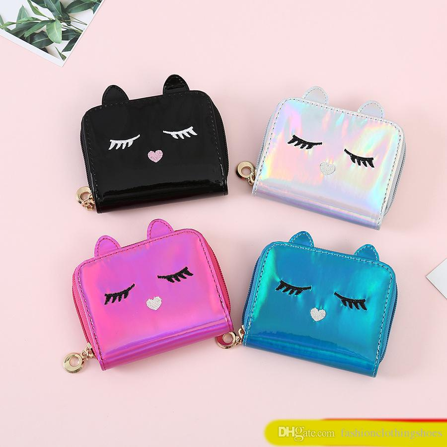 27087ce5640a Super Cute Girls Hologram Small Coin Purse Short Wallets Laser Leather Small  Zip Coin Credit Card Holder Purse Clutch Cat Wallet Hipster Purse Samaritan  S ...