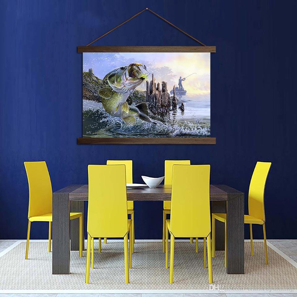 Modern Canvas Poster Huge Fish Paintings For Living Room Decor Wall Art HD Prints Fishing Scroll Pictures Hanging Wooden Framed