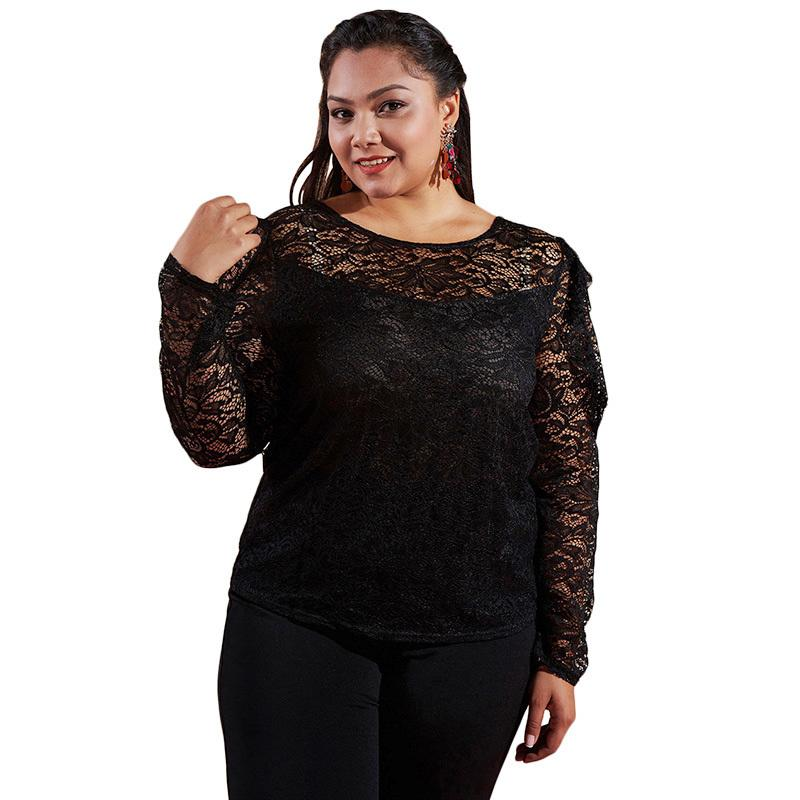 935ed5f9bfed23 2019 Sexy Women Plus Size Lace Blouse Cut Out Long Sleeve Chemise Femme O  Neck Solid Slim Lace Shirt Top Black Ropa Mujer Verano 2018 From  Fafachai07