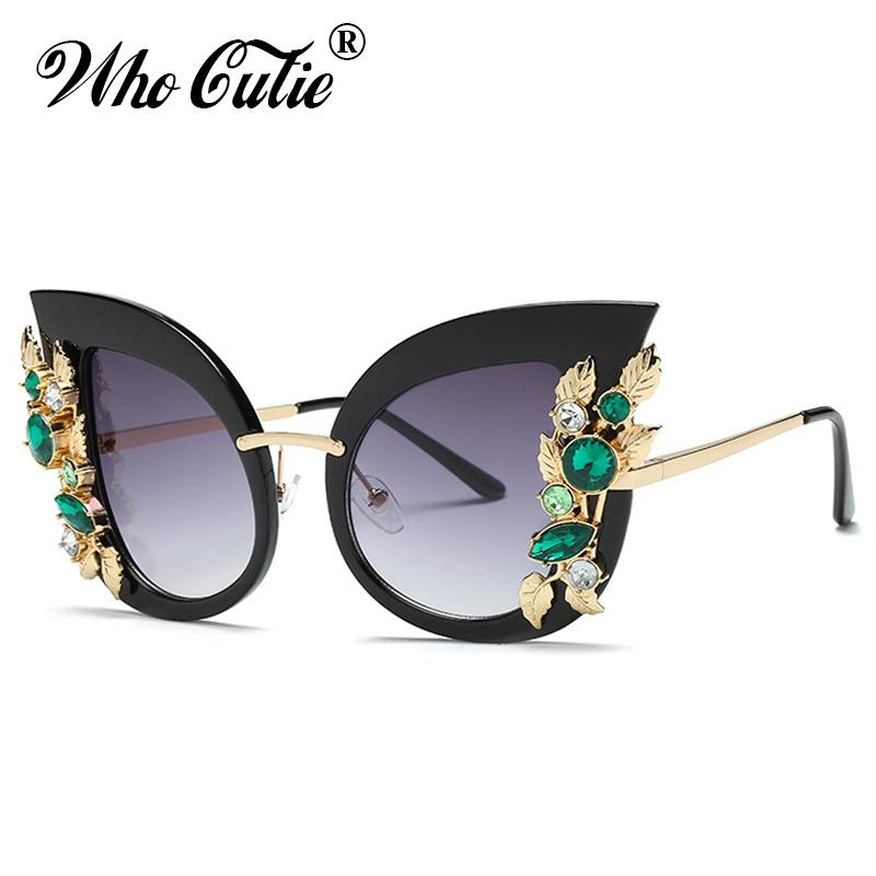 753eb673d9 WHO CUTIE 2018 Oversized Cat Eye Sunglasses Women Retro Vintage Rhinestone  Diamond Metal Frame 80S Cateye Sun Glasses Shades 555 Electric Sunglasses  ...