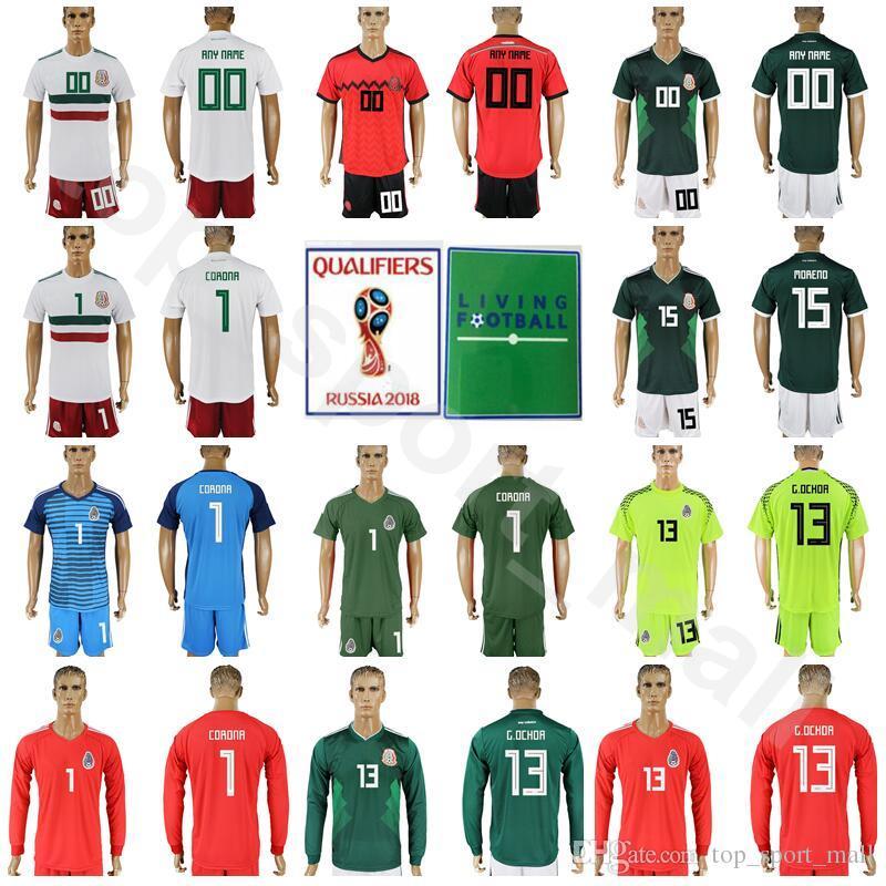 28e0bb6764b83 México Copa Mundial 2018 Portero 13 Guillermo Ochoa Jersey Fútbol 1 Corona  11 VELA 9 BORGETTI 10 BLANCO Kits De Camiseta De Fútbol 15 MORENO Por ...