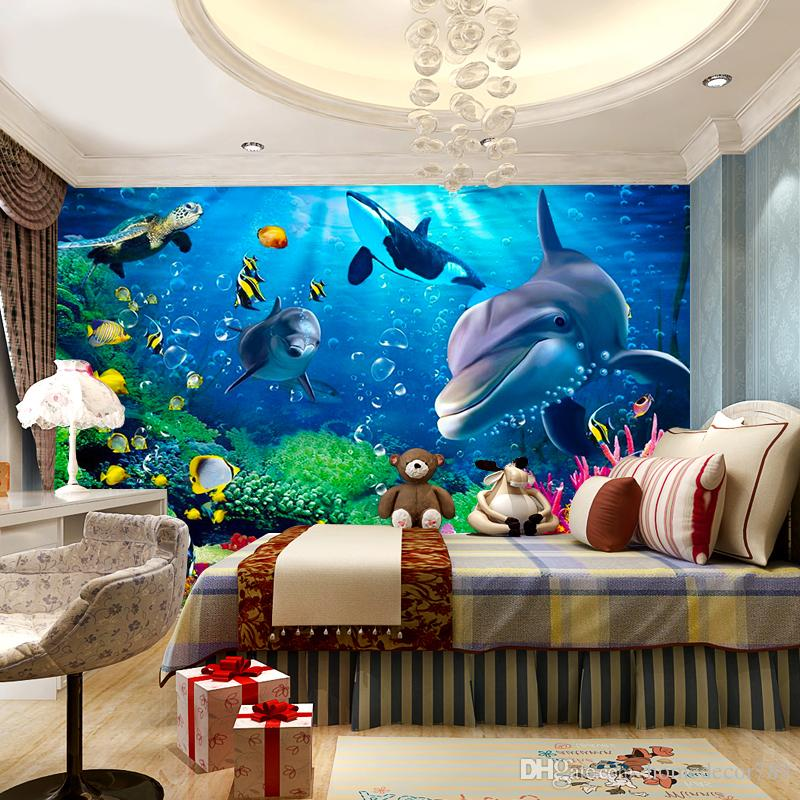 3D Wallpaper Personalized Customization Underwater World Dolphin Cartoon Children 3D Wall Mural Photo Wall Paper for Boys and Girls Children