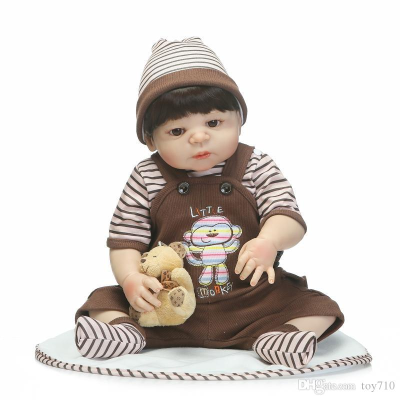 55cm full silicone sumilation newborn baby boy with black pasted hair silicone reborn baby doll gifts and toys for kids