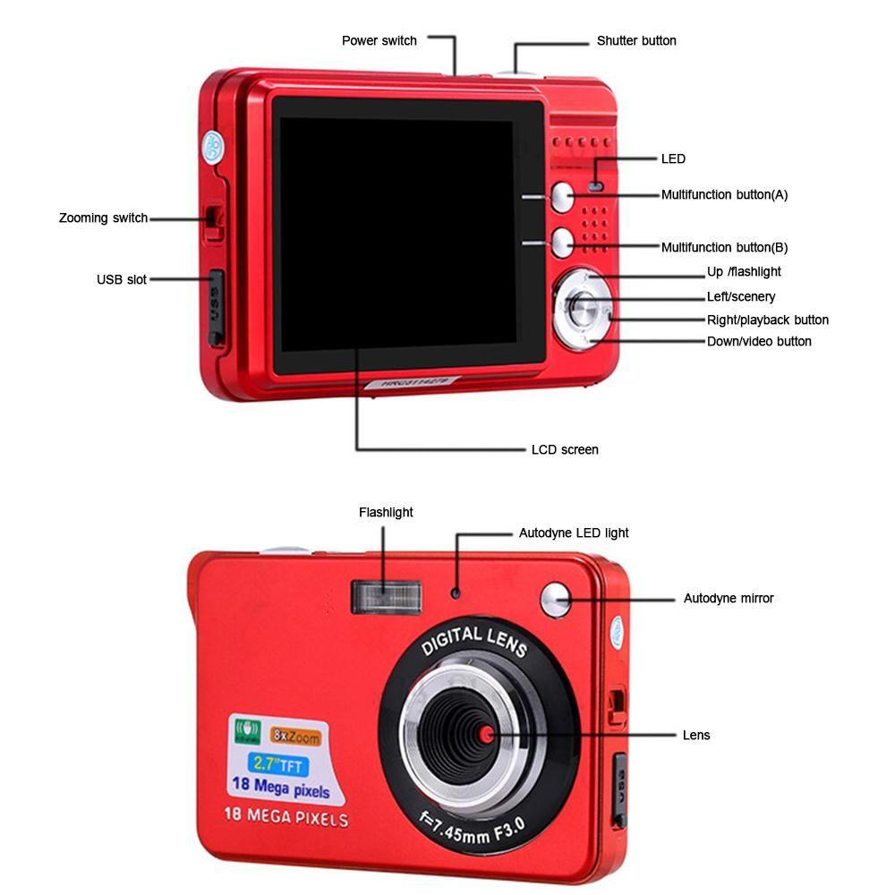 Mini Digital Camera 8x Digital Zoom Digital Photo Frame 2.7 inch 5MP COMS HD 18MP Resolution Video Recoding