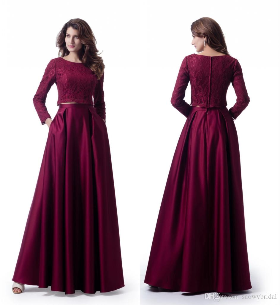Dark Red 2018 Modest Prom Dresses With Long Sleeves Lace Top Satin ...