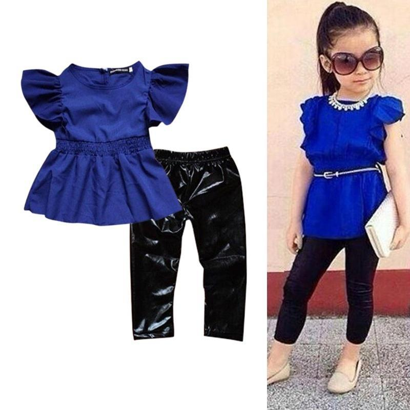 2019 Children Girls Clothes Suit Blue Dressblack Leggings Kids