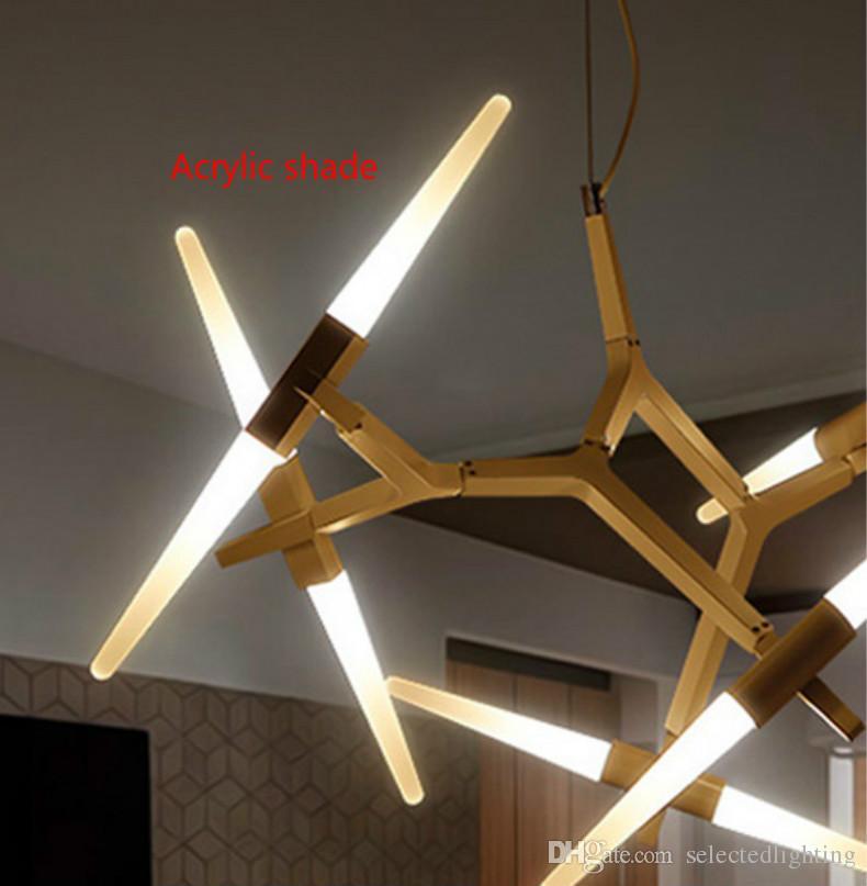 Le luminaire moderne de lustres modernes pour le pendant de salle à manger de salon allume librement le verre / l'ombre acrylique