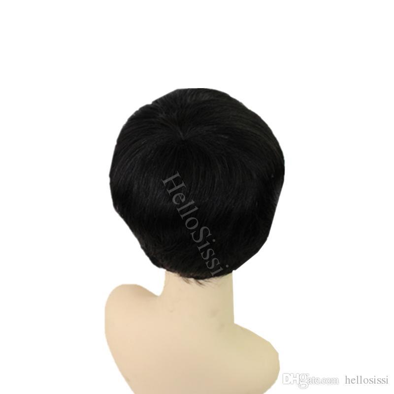 캄보디아 머리 인간 버진 블랙 짧은 픽시 컷 헤어 없음 없음 레이스 기계 만든 단서로운 아프리카 헤어 컷 스타일 가발
