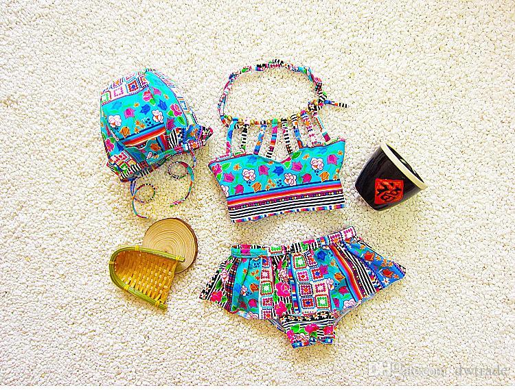 Maillot de bain deux pièces pour filles de style bohème Folk-Custom avec chapeau de natation