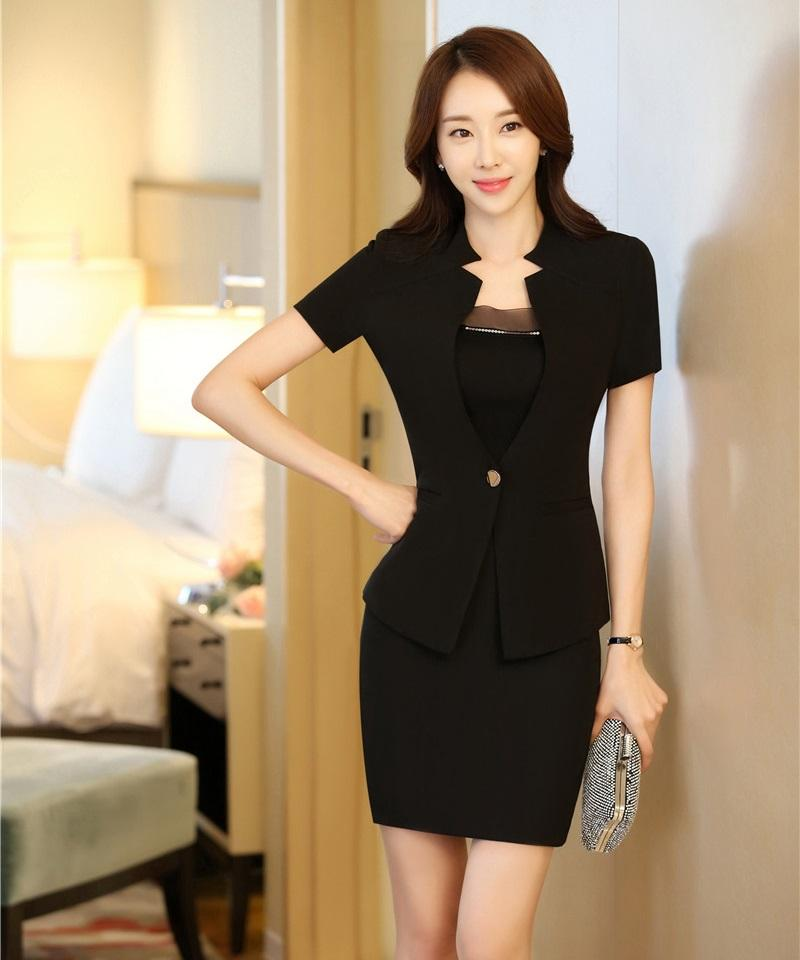2019 Summer Ladies Black Blazer Women Business Suits With Skirt And Jacket  Sets Short Sleeve Office Uniform Styles From Hiem 0e6c4715c923