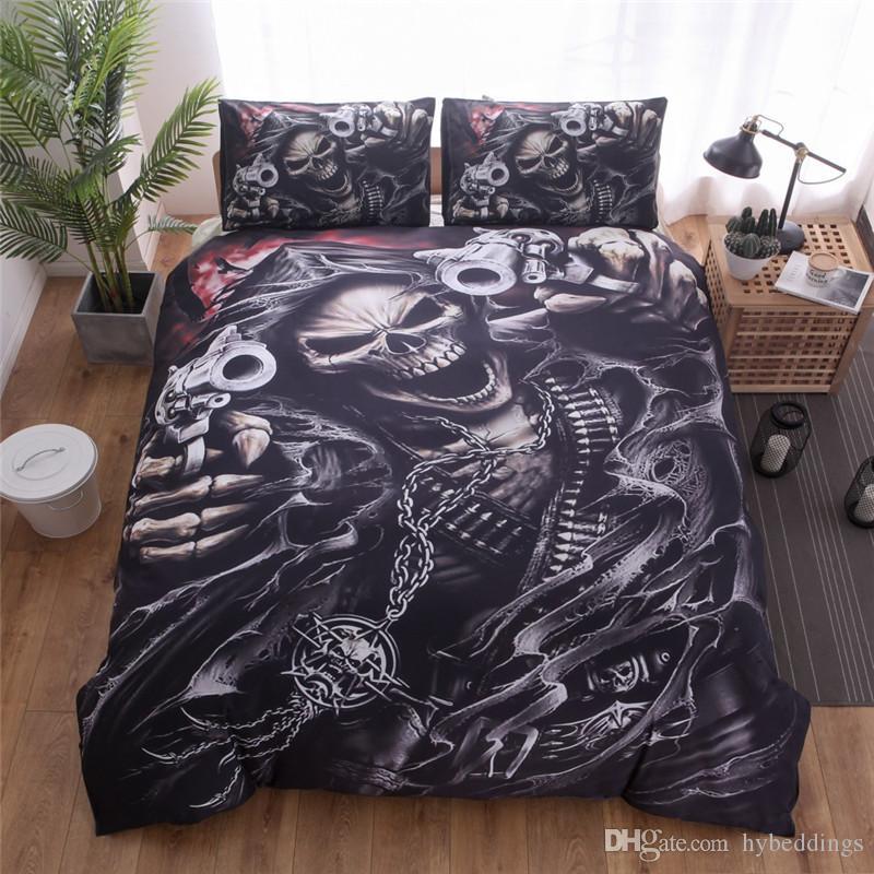 Halloween Skulls Bedding Set 3D Gothic Skull Warrior Gun Pattern Duvet  Cover Pillowcases Black Color Bedlinen Twin Queen King Size 2/Buy Bedding  King Duvet ...