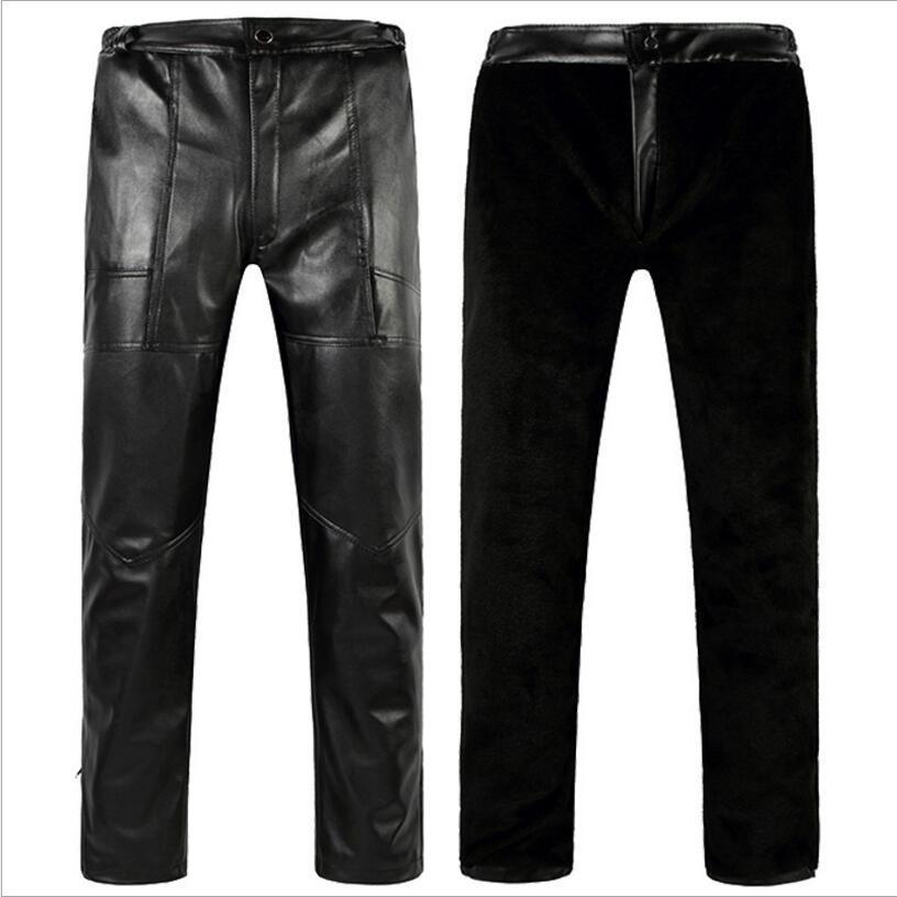foto ufficiali 16aaa 2f884 Pantaloni invernali in pelle da uomo Pantaloni caldi spessi Pantaloni da  uomo pesanti in pelle pesante Pantaloni larghi in pelle