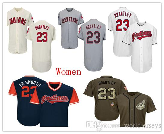 2019 Womens Indians 23 Michael Brantley Baseball Jersey Red Navy Blue White  Grey Gray Cream Green Salute From Worldjerseys e93f6f110