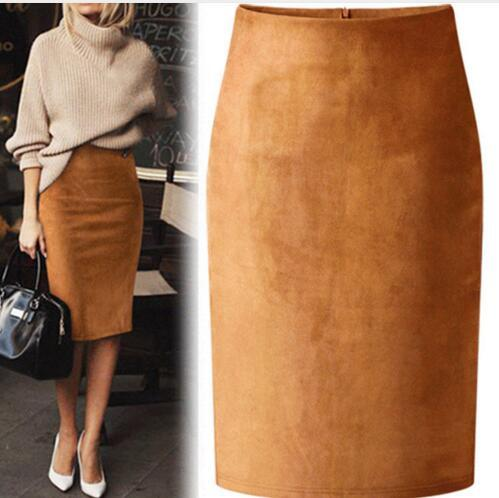 8a5e18acc 2019 Sexy Multi Color Suede Midi Pencil Skirt Women 2018 Fashion Elastic  High Waist Office Lady Bodycon Skirts Saias From Bidalina, $37.59 |  DHgate.Com
