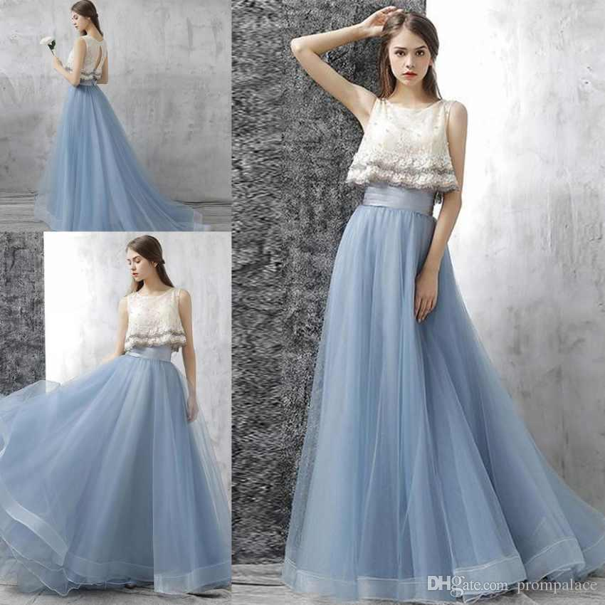 cc9d301a491 Newest A Line Prom Dresses Scoop Neck Sleeveless Lace Top Appliques Beaded Tulle  Sweep Train Evening Dresses Long After Prom Dresses All White Prom Dresses  ...