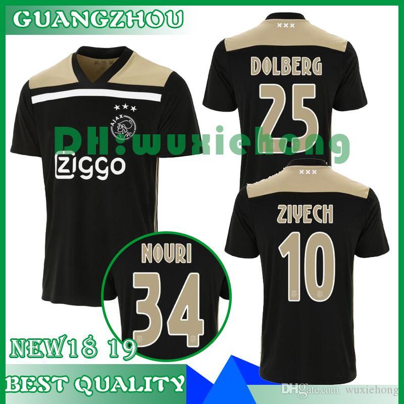 d3c7c6de1c9 2019 Thai Quality New 18 19 Ajax FC Away Black Raw Gold Soccer Jersey 2018  KLAASSEN MILIK NOURI Football Uniforms Shirts From Wuxiehong