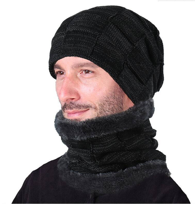 Men's Scarf Sets Thickened Warm Fleece Lining Winter Hat And Scarf Set For Men Solid Male Knitted Hat With Neck Warmer Cover Plus Velvet Bonnet Men's Accessories