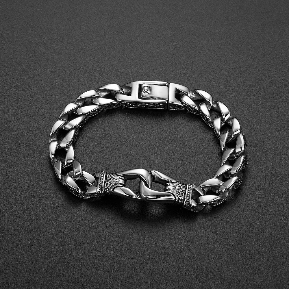 dc2b25ed19322 Acheter Bracelet Punk Pour Hommes 316L En Acier Inoxydable Trottoir Cubain  Lien Chaîne Bracelet Totem Nœud Charme Bracelet Hommes Mode Cadeau 12mm  22cm De ...