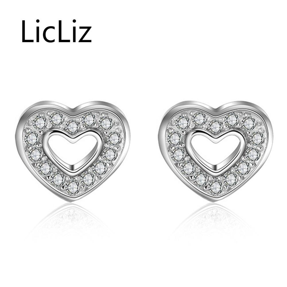 33c57e51f24 Licliz 925 Sterling Silver Stud Earring for Women Fashion Heart ...