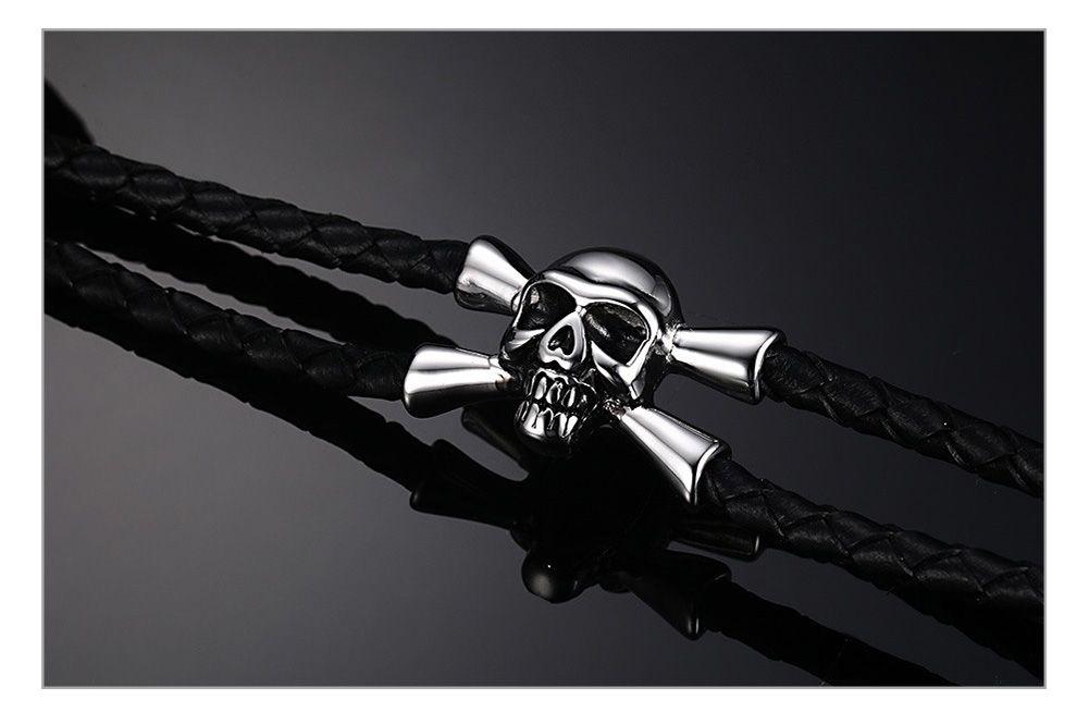 WK из нержавеющей стали череп Шарм браслет мужчины ювелирные изделия прохладный черный плетеный браслеты из натуральной кожи браслеты браслеты