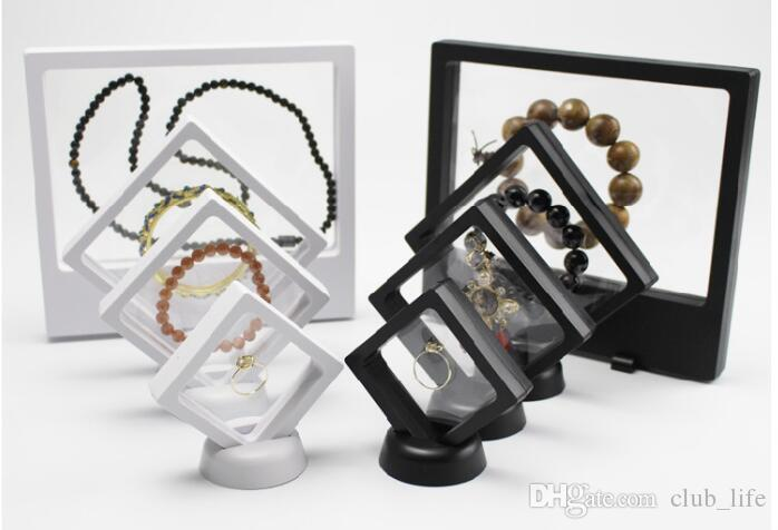 Black White Suspended Floating Display Case Jewellery Ring Coins Gems Artefacts Stand Holder Box ZD5461