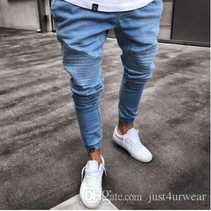 a3e6912c Homens Moda Jeans Rasgado Calças Skinny Lápis Drapeado Masculino Primavera  Outono Roupas Jeans