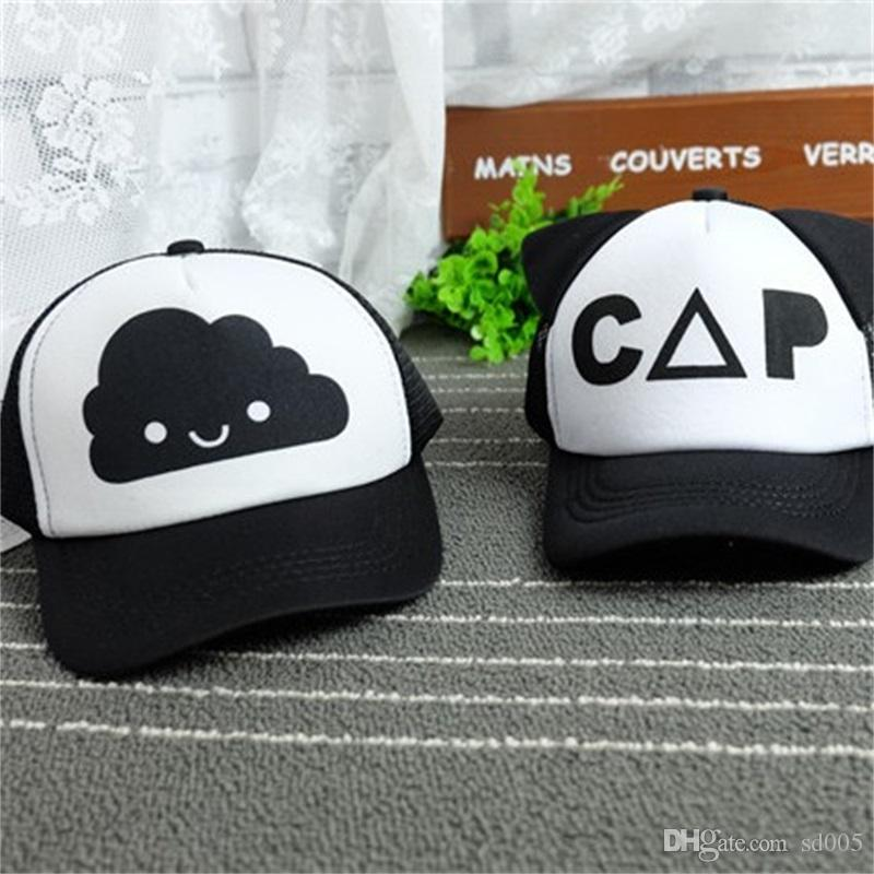 Children Baseball Cap Summer Spring Cute Boys And Girls Mesh Cotton Sun Hat  Black And White Cartoon Hats 7 5gl Hh Cap Hat Flat Caps For Men From Sd005 19988d360f9