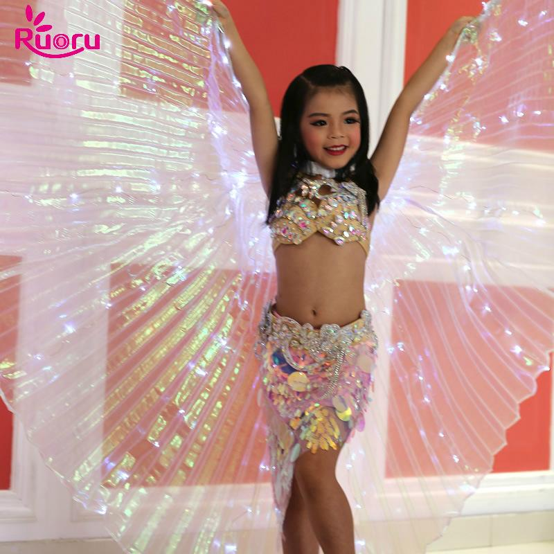 1cb3370ae 2019 Ruoru Children Led Isis Wings With Stick White Rainbow Kids Led Shining  Wings Belly Dance Accessories Girls Dance 360 Open From Primali, ...